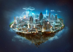 Fantasy island floating in the air with network wireless systems and internet of things , Smart city and communication network concept .