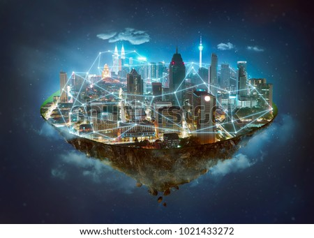 Fantasy island floating in the air with network wireless systems and internet of things , Smart city and communication network concept . #1021433272