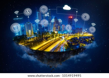 Fantasy island floating in the air with smart city and wireless communication network , Smart city and communication network concept .