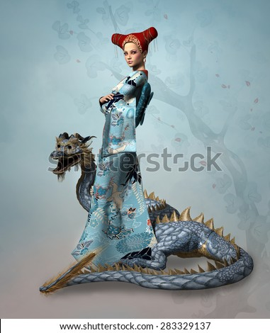 Stock Photo Fantasy lady with dragon
