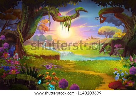 Fantasy land, Grass and Hill, River and Tree with Fantastic, Realistic Style. Video Game's Digital CG Artwork, Concept Illustration, Realistic Cartoon Style Scene Design