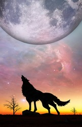 Fantasy landscape for e book cover - Howling wolf silhouette with huge planet rising in unreal sky. Elements of this image furnished by NASA