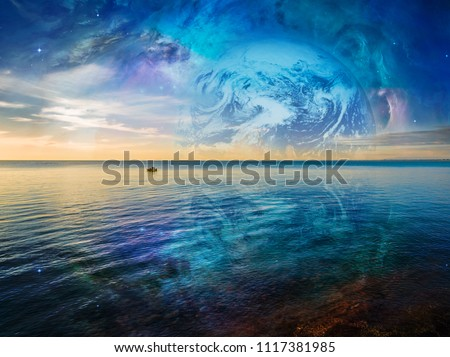 Fantasy landscape - lonely fishing boat floating on tranquil ocean water with planet and galaxy in the skies. Elements of this image are furnished by NASA #1117381985