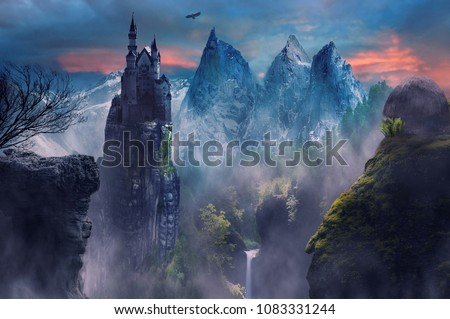 fantasy landscape of mountain and castle with foggy  #1083331244