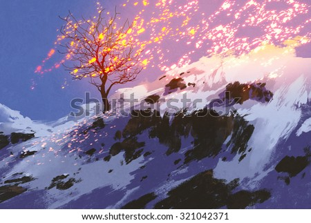 fantasy landscape showing bare tree in winter with glowing snow,digital painting