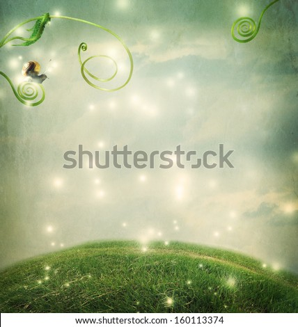 Fantasy landscape with a small snail and tendrils