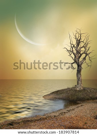 Fantasy Landscape with big moon and tree