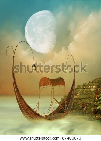 Fantasy Landscape with boat and moss stairway