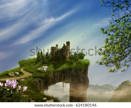 Stock Photo Fantasy landscape with cliff, castle and mountains. 3 D rendering