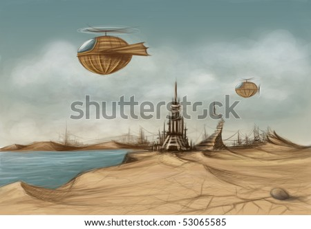 fantasy landscape with dacaying castle in the desert and flying machines