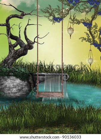 Fantasy Landscape with hammock and small lake