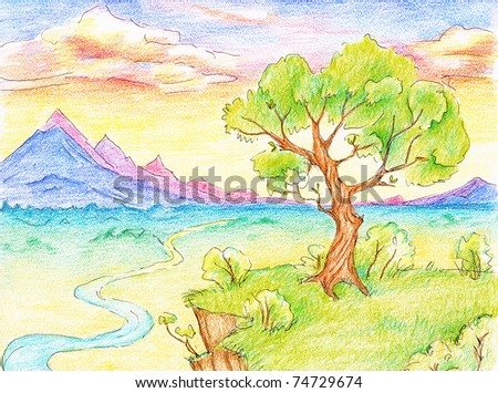 fantasy landscape with tree, river and mountains