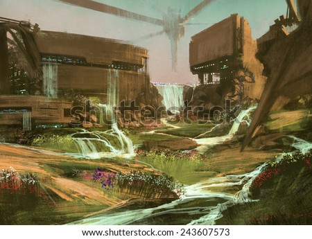 Stock Photo fantasy landscape with waterfall and ruined buildings,illustration painting