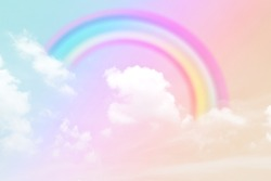 Fantasy magical landscape the rainbow on sky abstract with a pastel colored background and wallpaper.
