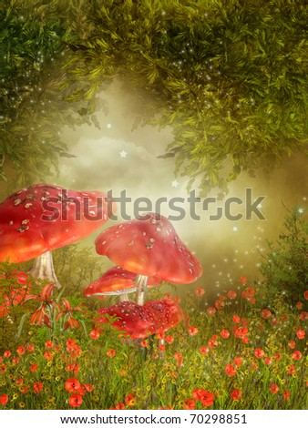 Fantasy meadow with poppy flowers and red mushroom