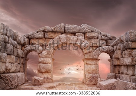Fantasy Medieval temple and great Sky #338552036