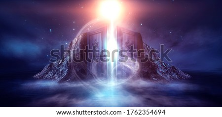 Fantasy night scene with sea landscape. The island in the form of mountains, smoke, fog, reflection in the water. Open doors and magical glow. 3D illustration. Photo stock ©