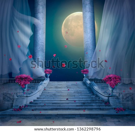 Fantasy nocturnal scene with full moon in a palace with marble stairs. 3 D rendering ストックフォト ©