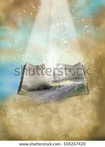 fantasy open book with landscape and glitter in the sky