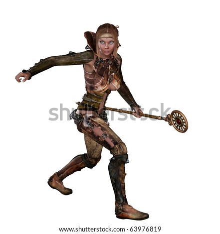 stock photo : fantasy or medieval looking woman in leather outfit with ...