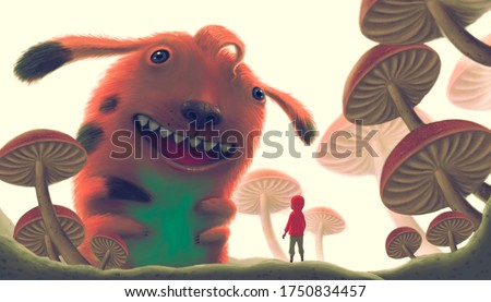 Fantasy painting of a boy with cute giant monster in mushroom garden , surreal world artwork, imagination concept art