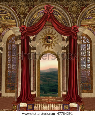 Fantasy palace window with red curtains