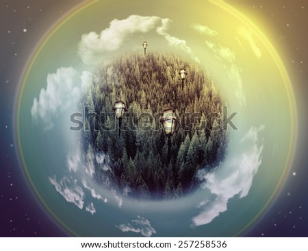 Fantasy picture with a green planet, lamps and universe with stars