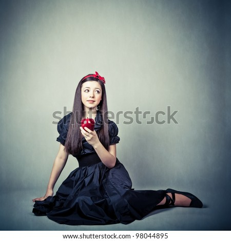 fantasy portrait of beautiful young girl, in snow white costume