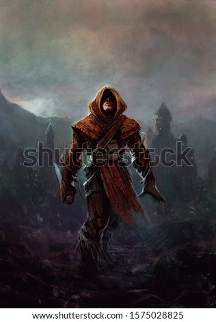 Fantasy ranger - man in a hood with a knife in his hand, a fortress with a tower in the background (painting, fictional character)