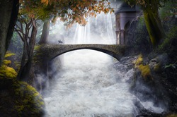 fantasy river with old stone bridge
