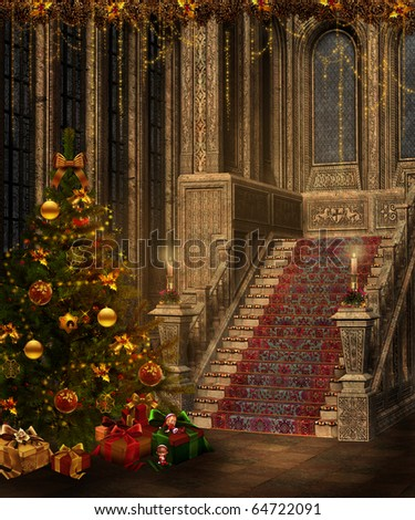 Fantasy room with a Christmas tree, stairs and candles