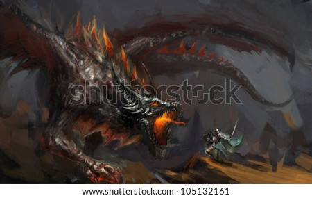 fantasy scene knight fighting dragon
