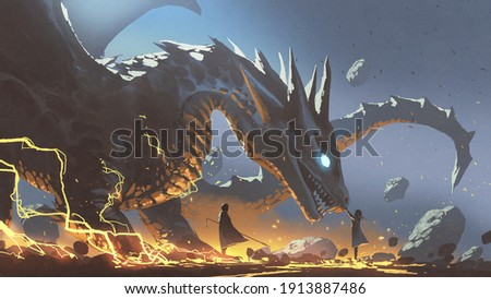 fantasy scene of a woman reaching for the dragon with a nearby lord, digital art style, illustration painting