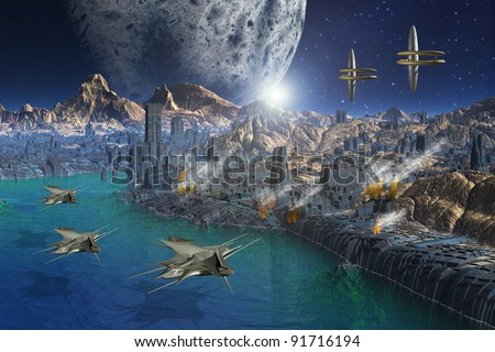 Fantasy scene on an alien planet with space ships