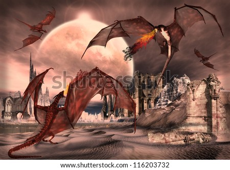 Fantasy Scene With Dragons