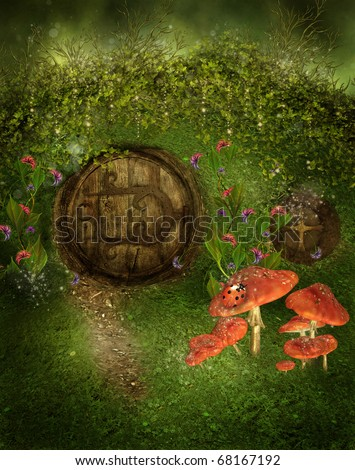Fantasy Scenery With A Door To A Gnome House And Mushrooms