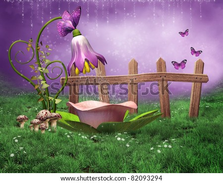 Fantasy scenery with a fairy shower and flower bathtub