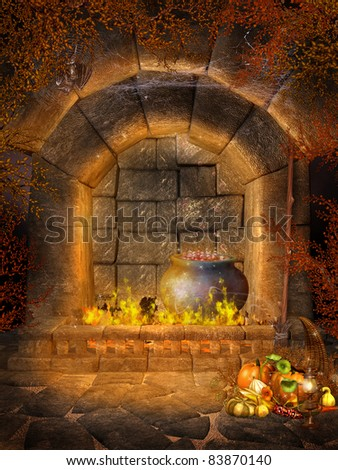 Fantasy Scenery With A Fireplace, Cauldron, Bats And Cornucopia ...