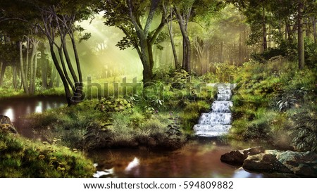 Fantasy scenery with pond, waterfall and  forest. 3D illustration