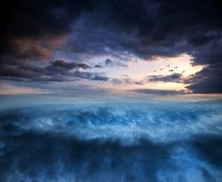 Fantasy skyscape sunset over surreal vortex formation