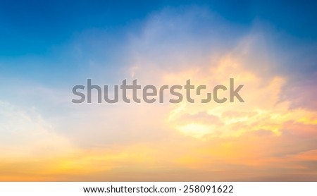 Fantasy softness cloud on sky in sunset time