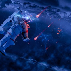 Fantasy space - flying astronaut