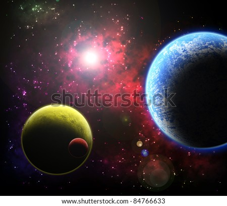 Fantasy Space - Nebula with Planets