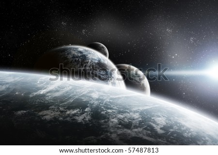 Fantasy space planets illustration