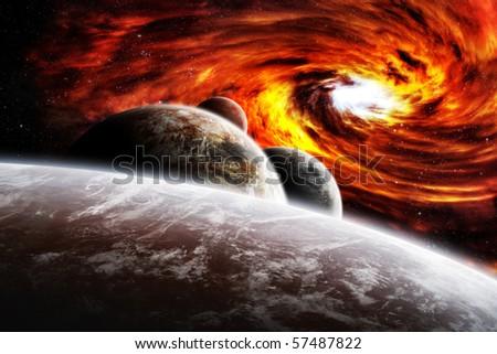 Fantasy space planets illustration with nebula