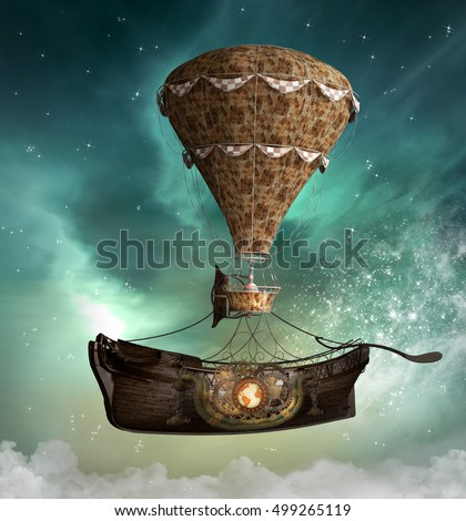 Fantasy steampunk airship - 3D illustration