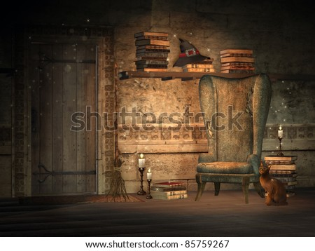 Fantasy study with magic books and candles