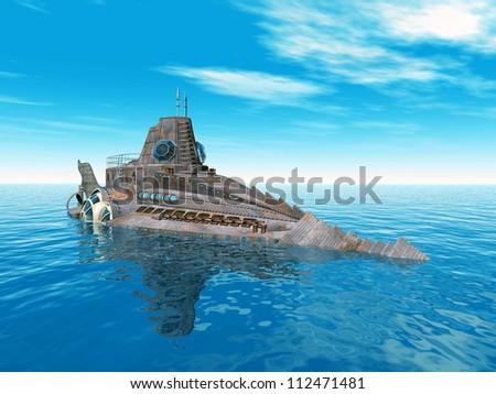 Fantasy Submarine Computer generated 3D illustration