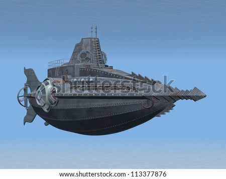 Fantasy Submarine Computer generated 3D illustration