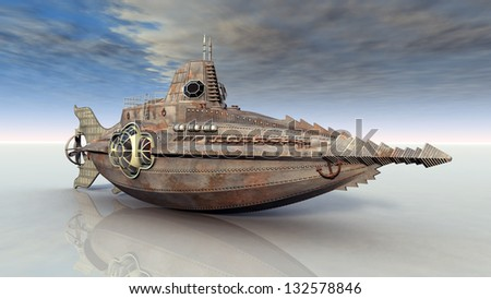 Fantasy Submarine on Dry Computer generated 3D illustration